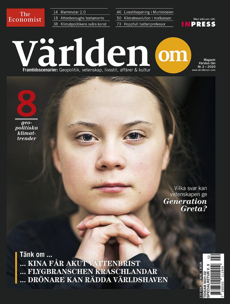Faksimil av framsida med Greta Thunberg