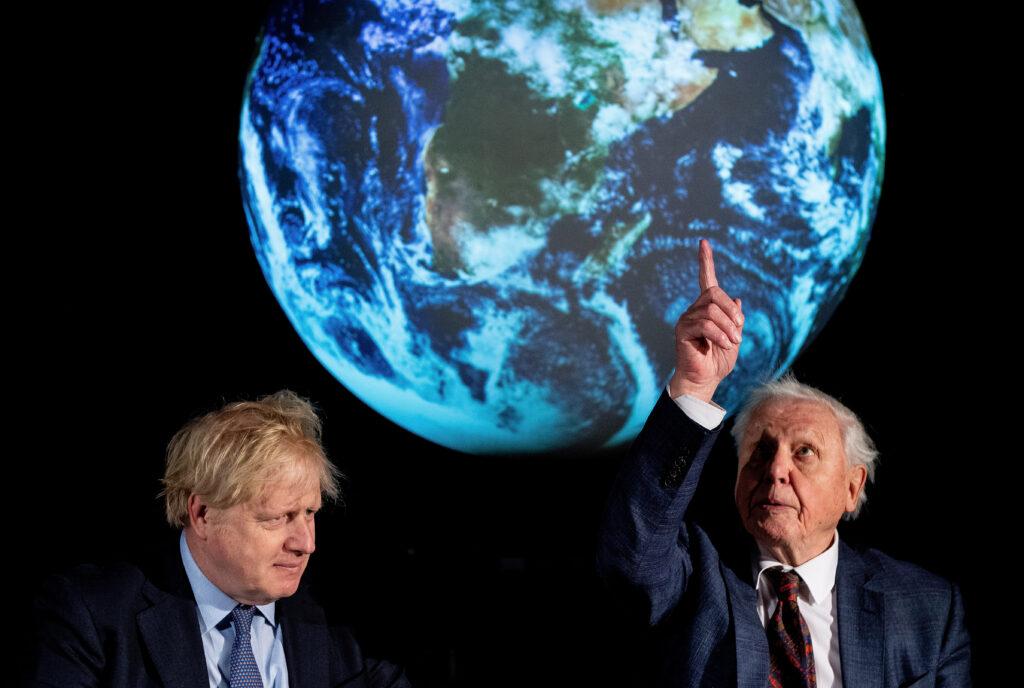 British Prime Minister Boris Johnson and David Attenborough attend a conference about COP26 UN Climate Summit, in London